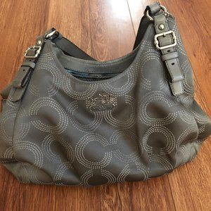coach light gray signature shoulder purse